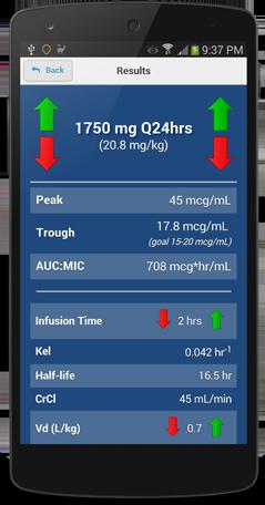 Vancomycin Calculator for Android and iOS Screenshot