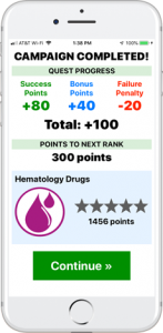 Gamification - Motivate your studying by earning game points, ranks, and awards as you complete RxHero campaigns