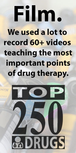 FILM.  We used a lot to record 60+ videos teaching the most important points of drug therapy. The Top 250 Drugs by ClinCalc Academy