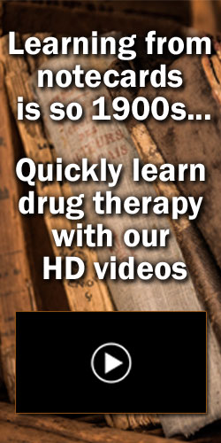 Learning from notecards is so 1900s... Quickly learn drug therapy with our HD videos. The Top 250 Drugs by ClinCalc Academy